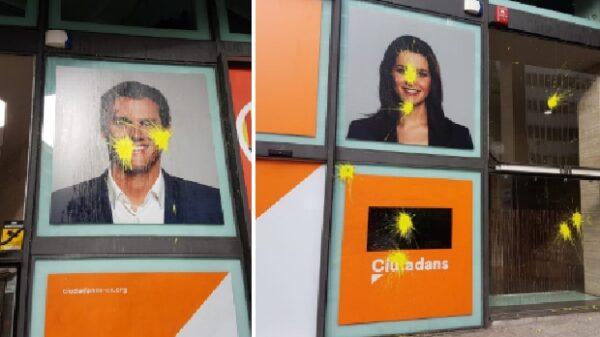 Pintadas en la sede de Ciudadanos en Barcelona