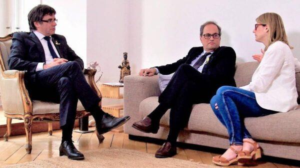 Carles Puigdemont, Quim Torra y Elsa Artadi, este jueves en Berlín