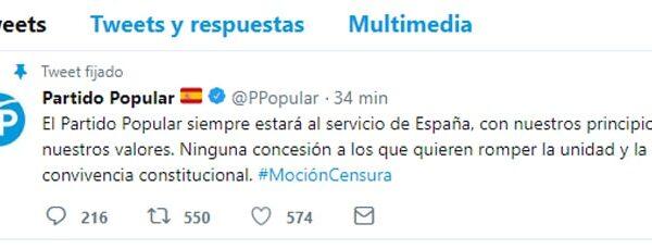 El tuit del PP tras anunciar el PNV su apoyo a la moción