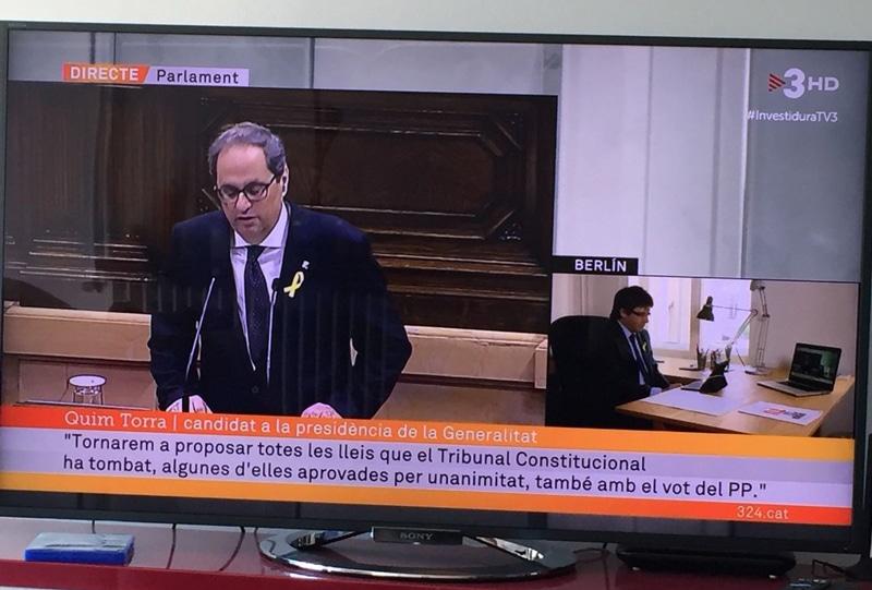 La retransmisión de TV3 del discurso de investidura de Quim Torra