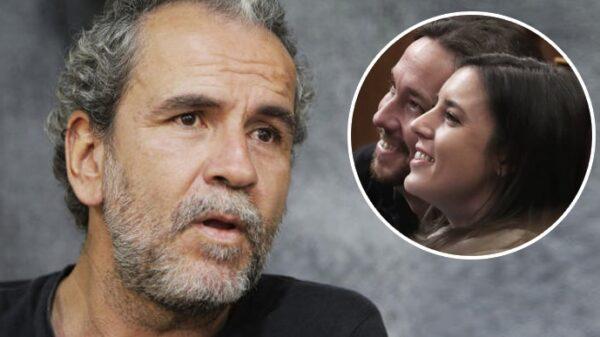 Willy Toledo y la pareja Pablo Iglesias e Irene Montero
