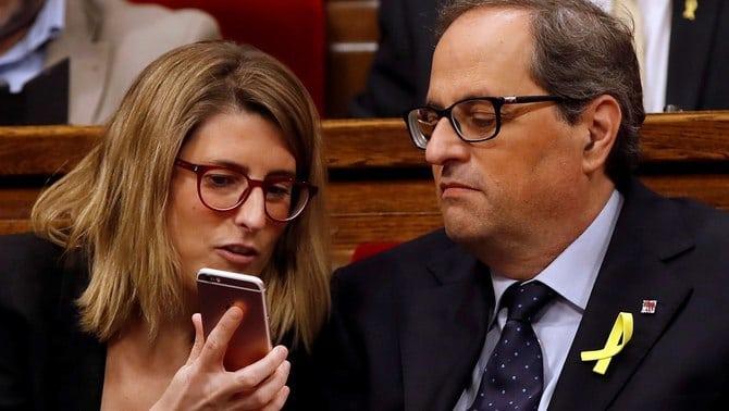 Elsa Artadi y Quim Torra en el Parlament