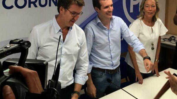 Alberto Ñúñez Feijóo y Pablo Casado este sábado en un acto en A Coruña