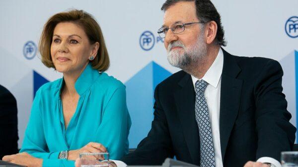 María Dolores de Cospedal y Mariano Rajoy este martes en la Ejecutiva Nacional del PP