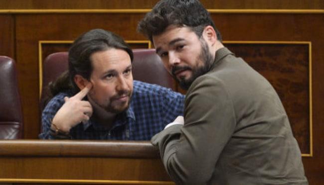 Pablo Iglesias y Gabriel Rufián en el Congreso