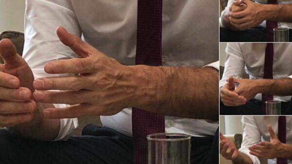 as fotos de las manos de Pedro Sánchez publicadas en la cuenta de Twitter de La Moncloa