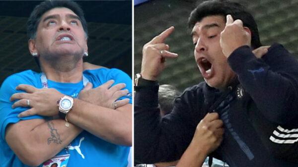 Diego Armando Maradona en dos momentos del Argentina-Nigeria