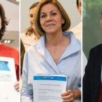 Soraya Sáenz de Santamaría, María Dolores de Cospedal y Pablo Casado este miércoles en Génova al presentar sus avales
