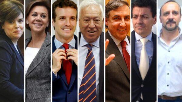 Soraya Sáenz de Santamaría,María Dolores de Cospedal,Pablo Casado, José Manuel García-Margallo, José Ramón García Hernández, José Luis Bayo y Elio Cabanes