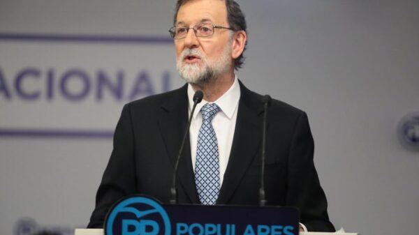 Mariano Rajoy durante su comparecencia este martes en Génova