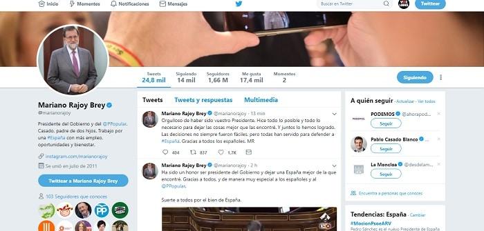 Perfil en Twitter de Rajoy antes de la moción