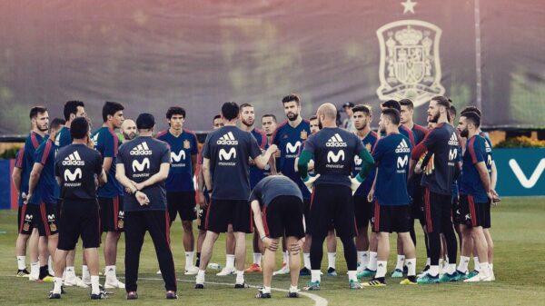 Los jugadores de España en el entrenamiento de este miércoles