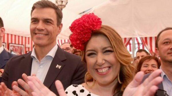 Susana Díaz y Pedro Sánchez en la Feria de Abril de este año