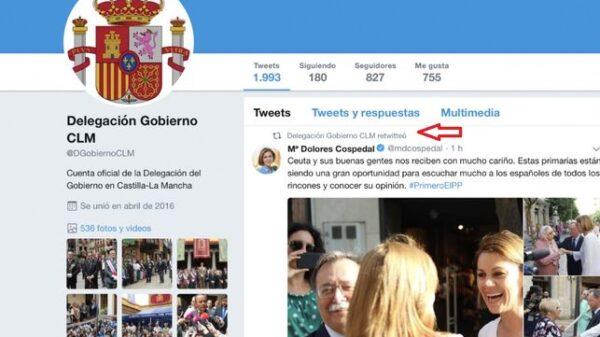 El tuit en apoyo a María Dolores de Cospedal que ya ha sido borrado de la cuenta de la Delegación del Gobierno