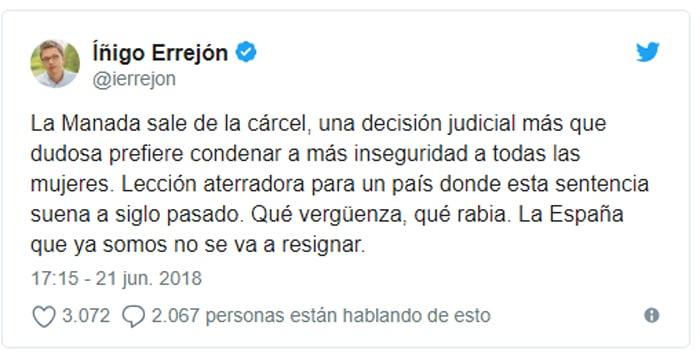 El tuit de Errejón sobre La Manada