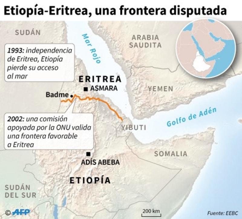Mapa de Etiopía y de Eritrea localizando la frontera entre ambos países (AFP)