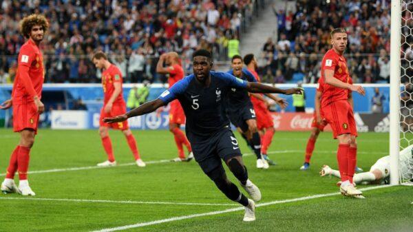 Samuel Umtiti celebrando su gol en el Francia-Bélgica de semifinales