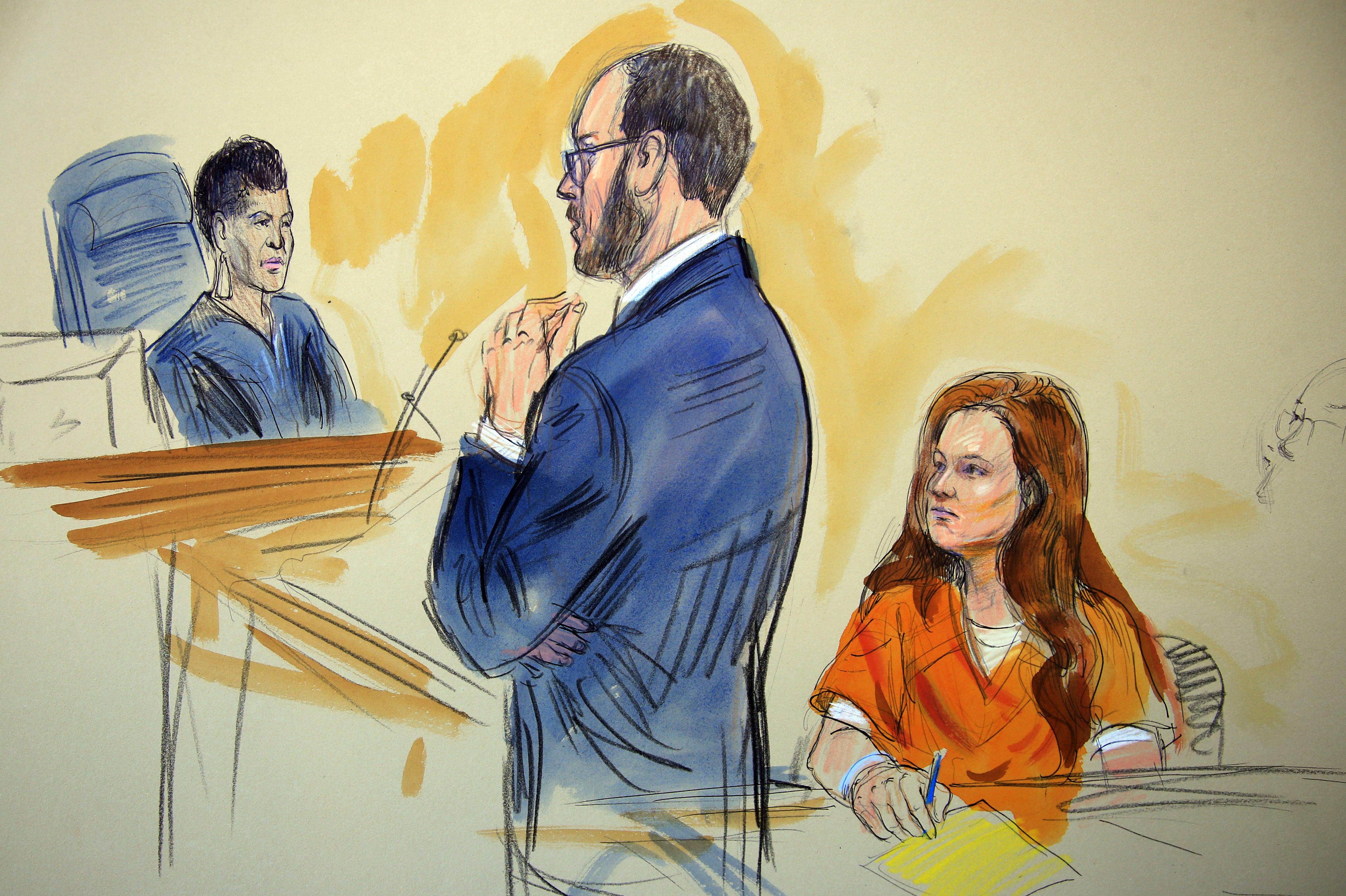 Ilustración de la comparecencia de Maria Butina ante el tribunal federal (Dana Verkouteren, AP)
