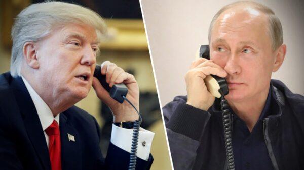 Donald Trump y Vladimir Putin hablando por teléfono