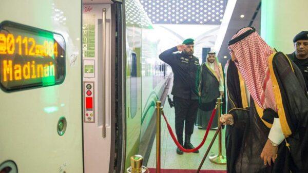 El rey de Arabia Saudí, Salman Bin Abdulaziz Al Saud, en la inauguración del AVE a La Meca
