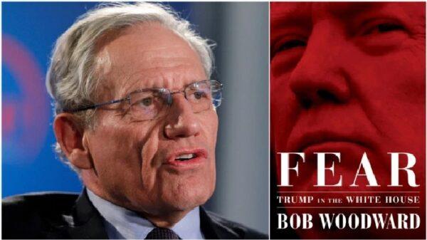 El periodista Bob Woodward y la portada de 'Fear', su nuevo libro