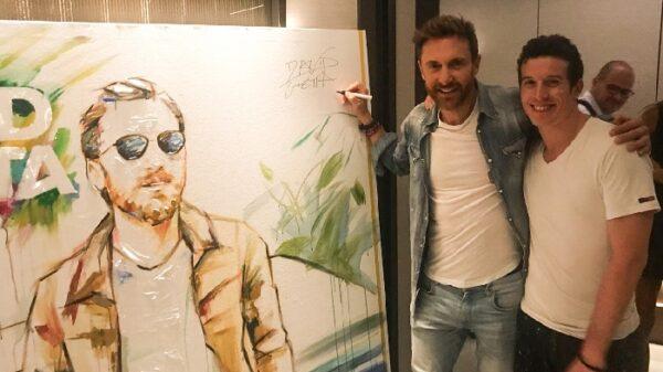 Jordi Machí con David Guetta y el retrato de éste