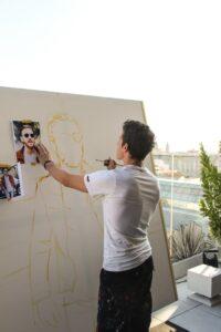 Jordi Machí comenzando el retrato de David Guetta