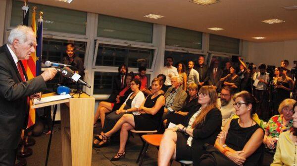 Ernest Maragall durante su intervención en el acto de reapertura de la delegación de la Generalitat de Cataluña en Berlín