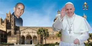 Montaje del Papa Francisco y Pino Puglisi