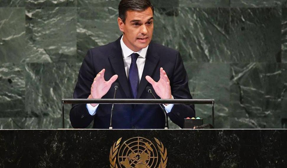 Pedro Sánchez durante su intervención ante la Asamblea General de la ONU
