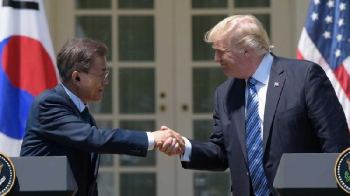 Donald Trump y su homólogo coreano, Moon Jae-In