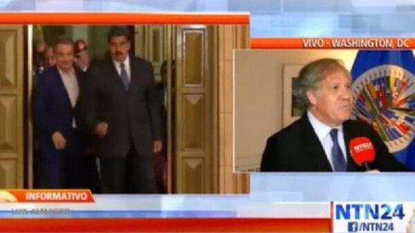 Luis Almagro, presidente de la OEA, hablando sobre Zapatero