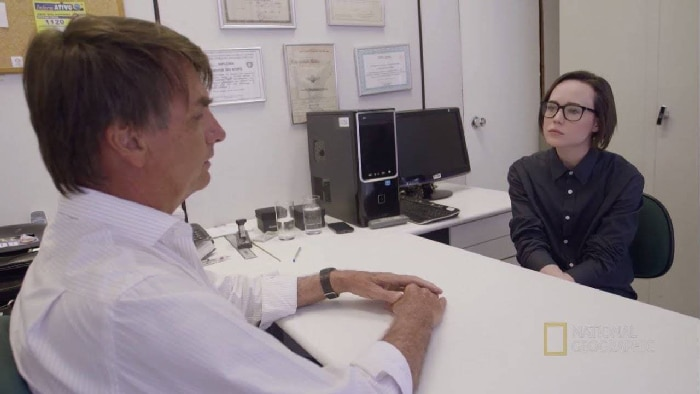 Jair Bolsonaro en un momento de su entrevista con Ellen Page