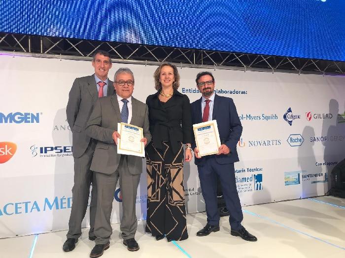 Álvaro de la Parra (gerente del HUIE), el Dr. Rodríguez, la Dra. Marta Sánchez (directora médico del HUIE) y el Dr. Suárez