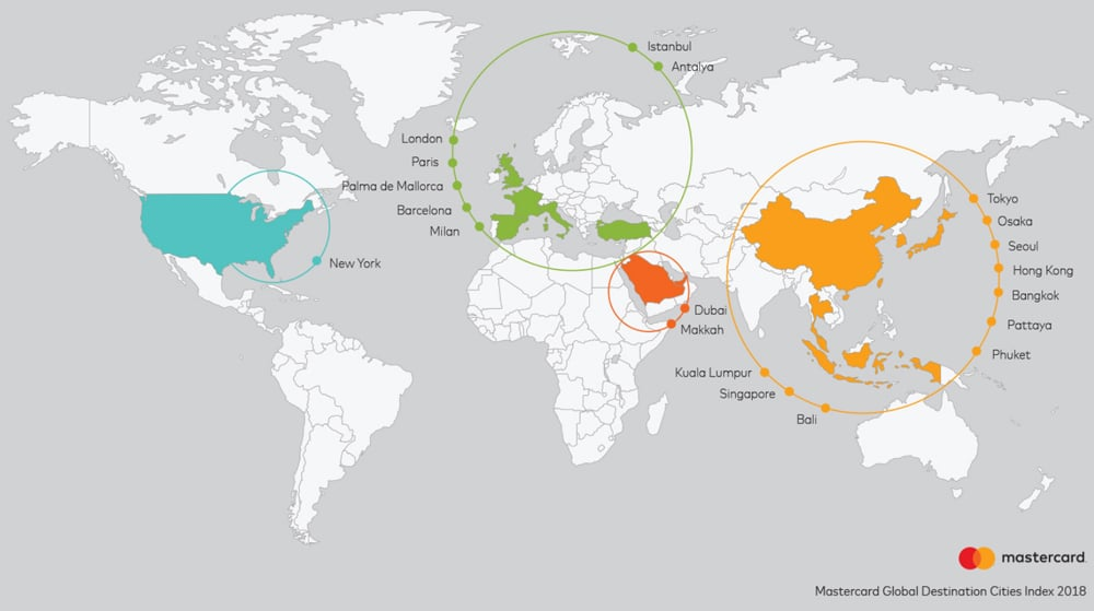 Las 20 ciudades más visitadas del mundo según el informe de Mastercard