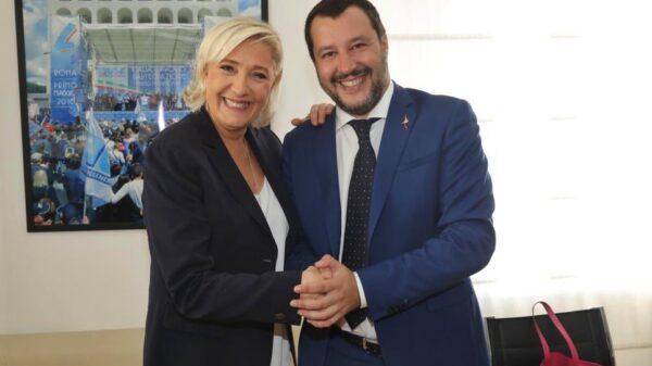 Marine Le Pen y Matteo Salvini durante su encuentro en Roma