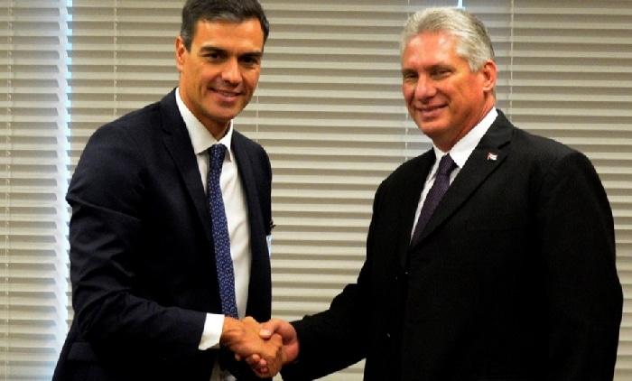 Pedro Sánchez y su homólogo cubano, Miguel Díaz Canel