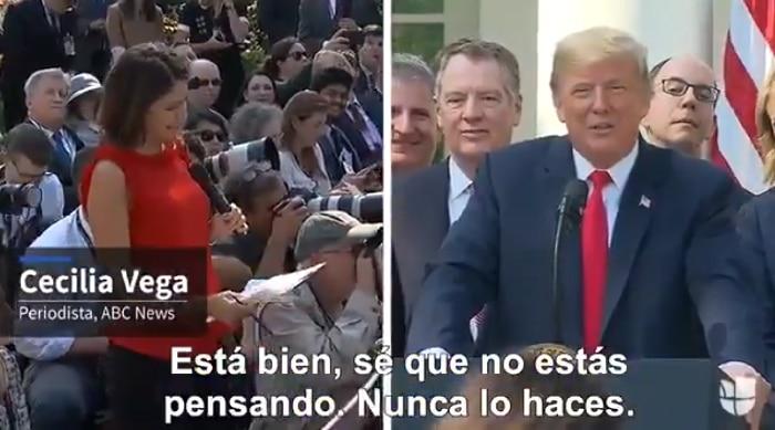 La periodista Cecilia Vega y Donald Trump