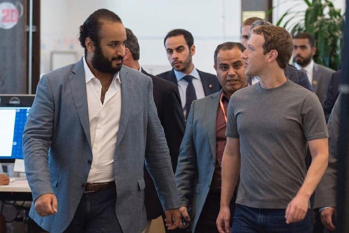 El príncipe Mohamed bin Salman con Mark Zuckerberg