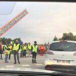 Momento de bloqueo en carretera durante la manifestación