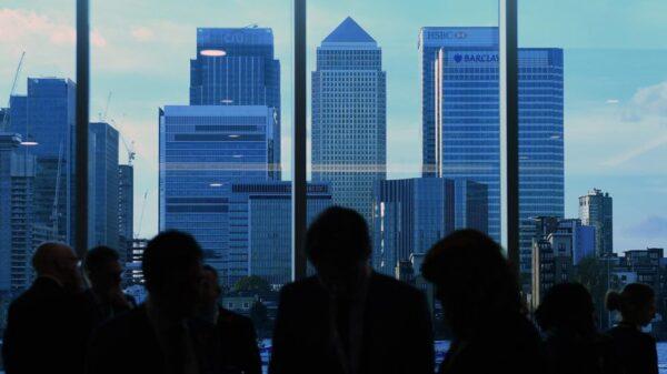 Vista del centro financiero de Canary Wharf de Londres