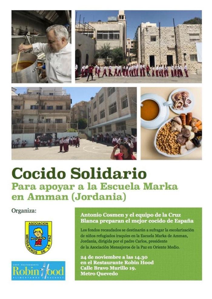Cartel informativo sobre el cocido madrileño organizado por Mensajeros de la Paz