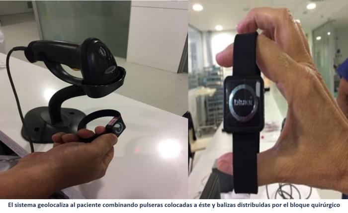 El sistema geolocaliza al paciente combinando pulseras colocadas a éste y balizas distribuidas por el bloque quirúrgico