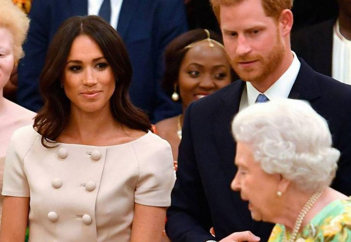 Meghan Markle con la reina Isabel y Harry