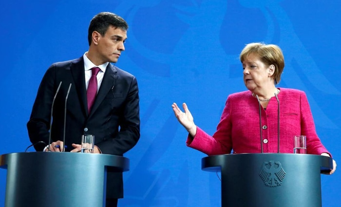Pedro Sánchez y Angela Merkel