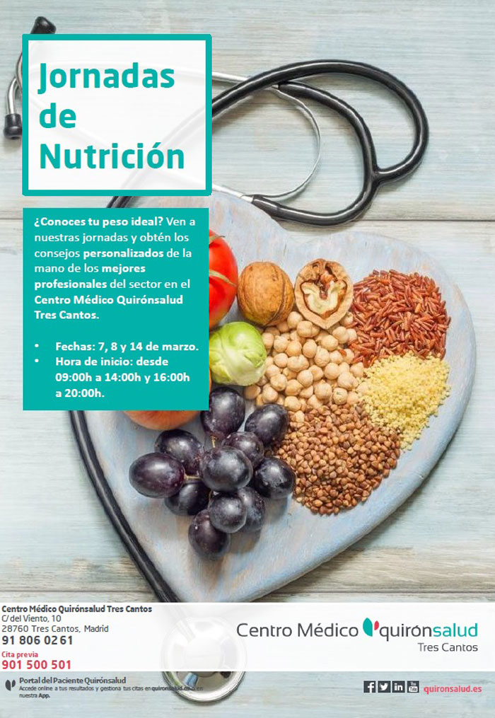 Cartel de las Jornadas de nutrición en Tres Cantos