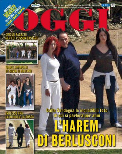 Berlusconi en la portada de una revista con dos mujeres