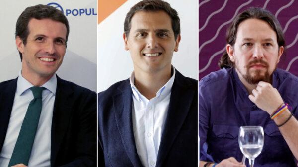 Pablo Casado, Albert Rivera y Pablo Iglesias
