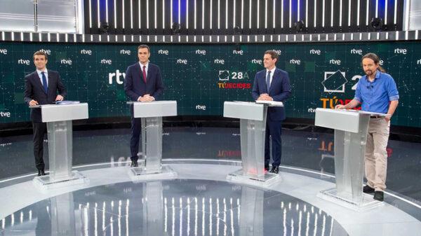 Los cuatro candidatos durante el debate de TVE
