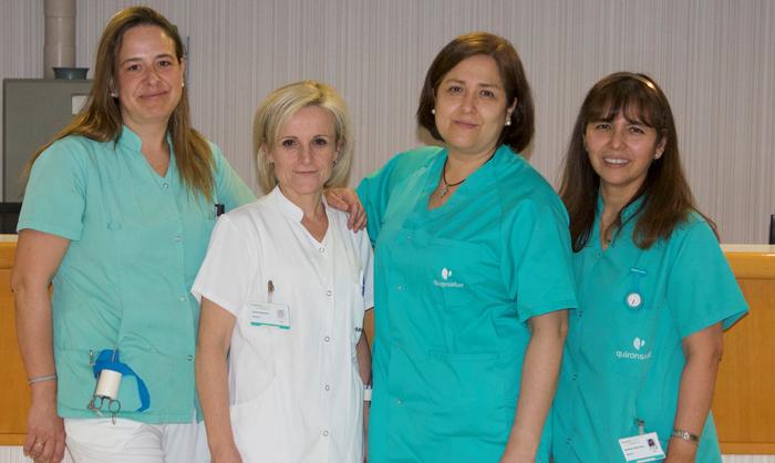 Mª Pilar de la Puente, Antonia Pérez Troya, Nancy Camacho León y Margarita Poma Villena, equipo de enfermería especializado en Ostomías y Heridas del Hospital La Luz